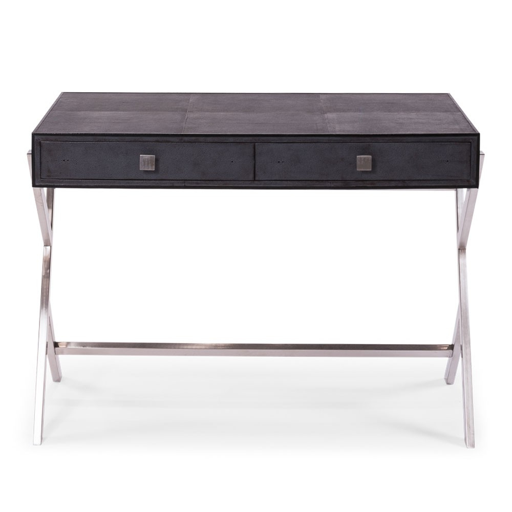 Preferred Grey Shagreen Leather Desk – Stainless Steel (Gallery 5 of 20)