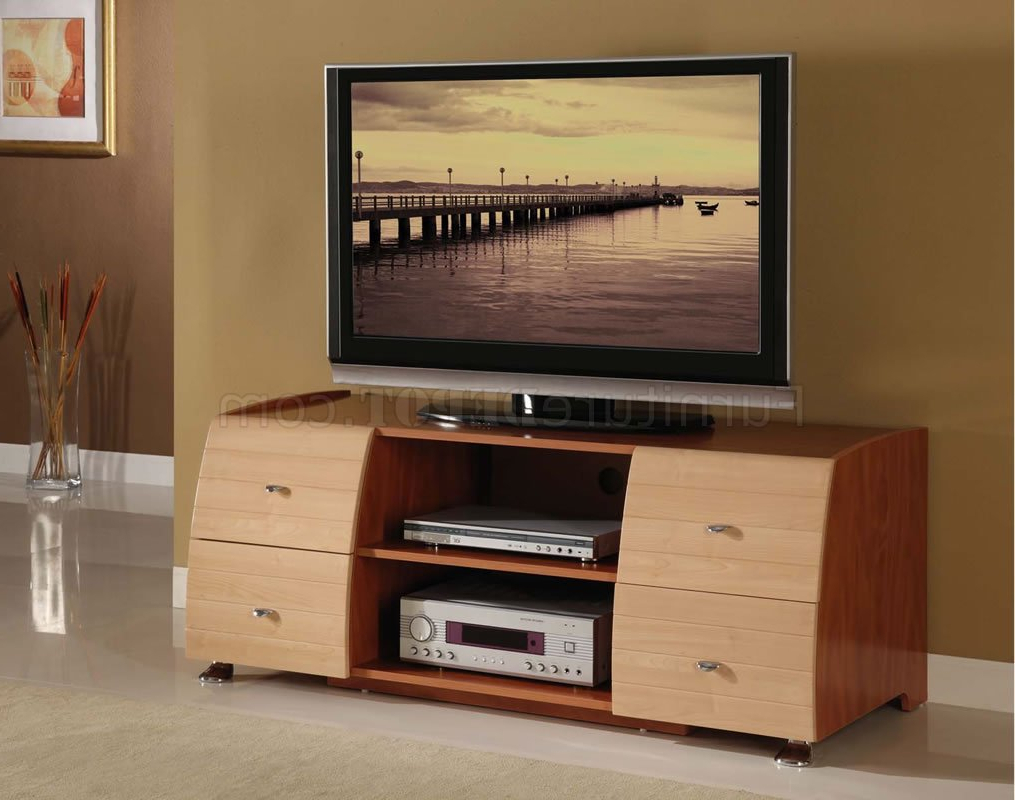 Preferred Light Cherry Tv Stands Pertaining To Two Tone Maple & Cherry Contemporary Tv Stand (Gallery 6 of 20)