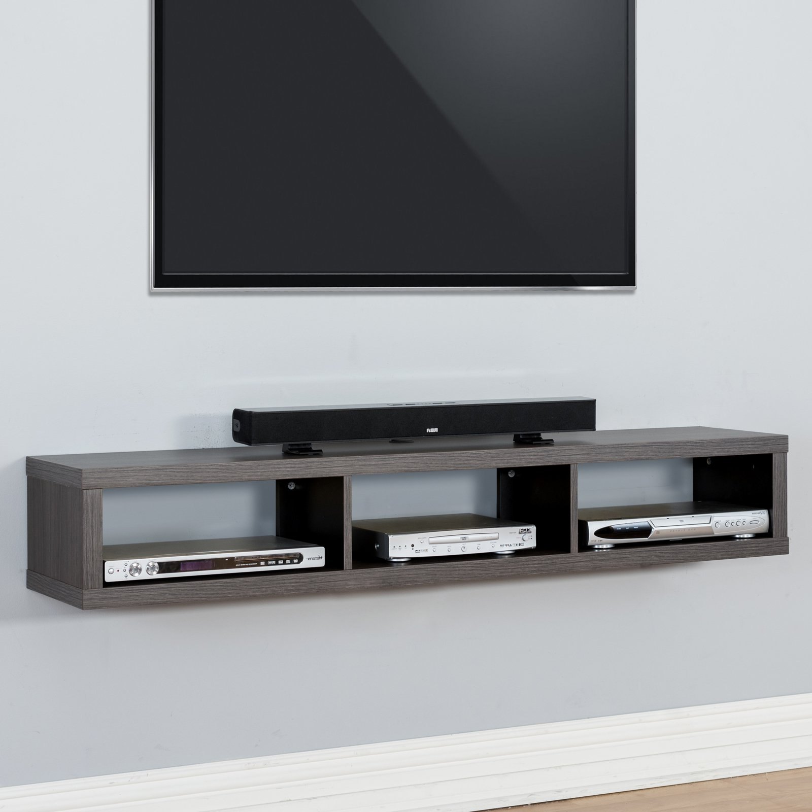 Preferred Martin Furniture Shallow Wall Mounted Tv Shelf – Walmart For Wall Mounted Tv Stands With Shelves (View 16 of 20)