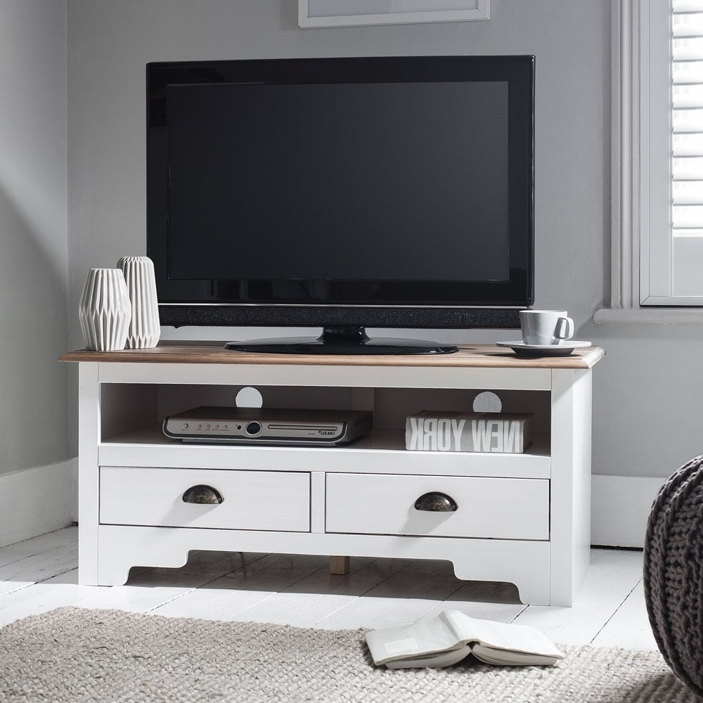 Preferred Noah Rustic White 66 Inch Tv Stands With Regard To Canterbury Tv Unit In White & Dark Pine (Gallery 15 of 20)