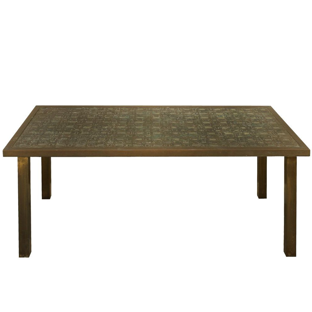 "Preferred Rare ""new Fantasia"" Coffee Table In Patinated Bronze And Pewter With Inside Phillip Brass Console Tables (View 14 of 20)"
