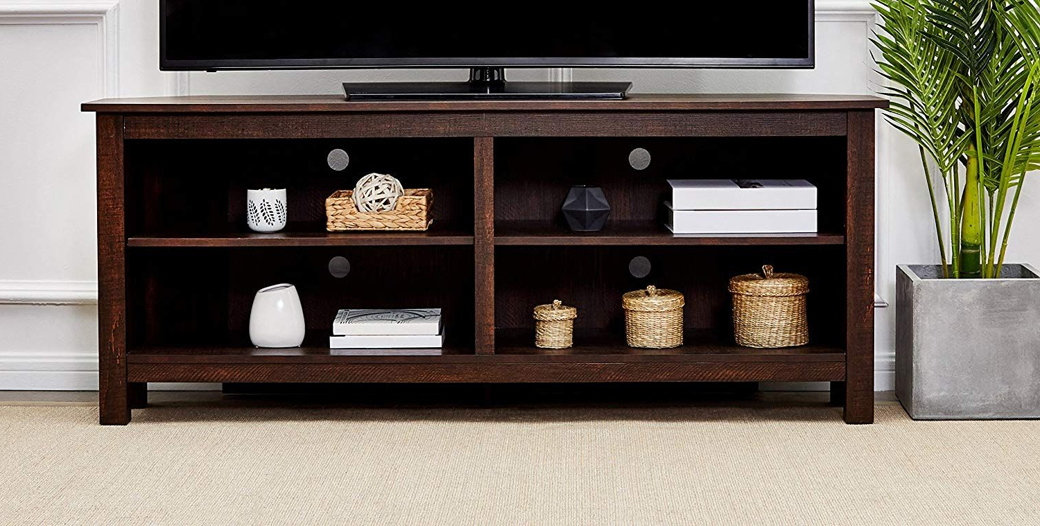 Preferred Rockpoint Sumy 58 Inch Corner Wood Tv Stand Storage Console, Burnt Inside Maple Tv Stands (Gallery 17 of 20)