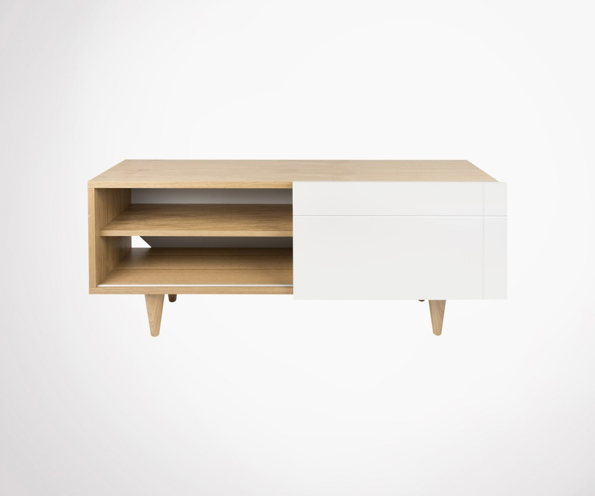 Preferred Scandinavian Tv Stand 120cm Oak Wood Natural And Whitetemahome Inside Scandinavian Tv Stands (View 10 of 20)