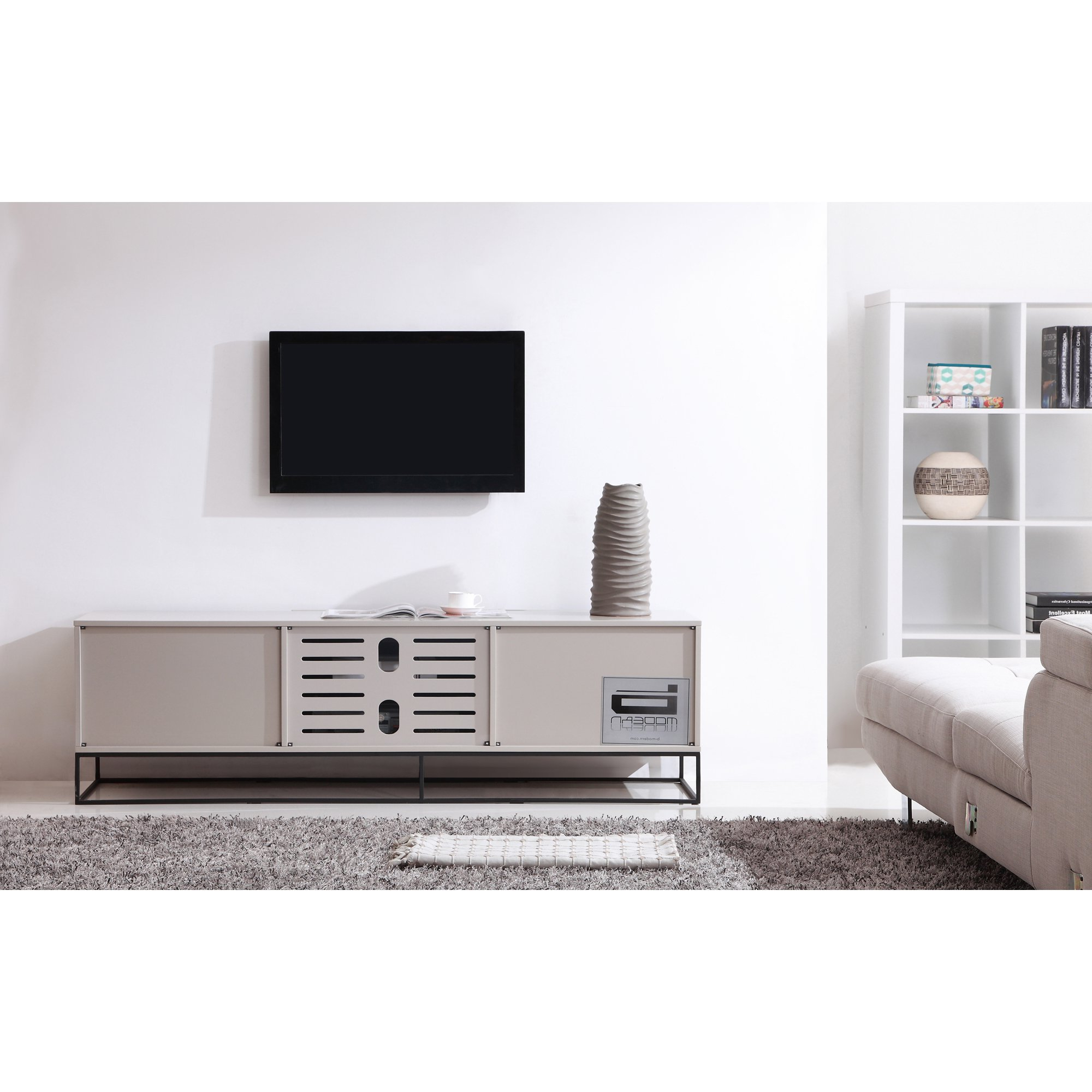 Preferred Shop B Modern Animator High Gloss Cream/ Black Modern Ir Tv Stand For Cream Gloss Tv Stands (View 20 of 20)
