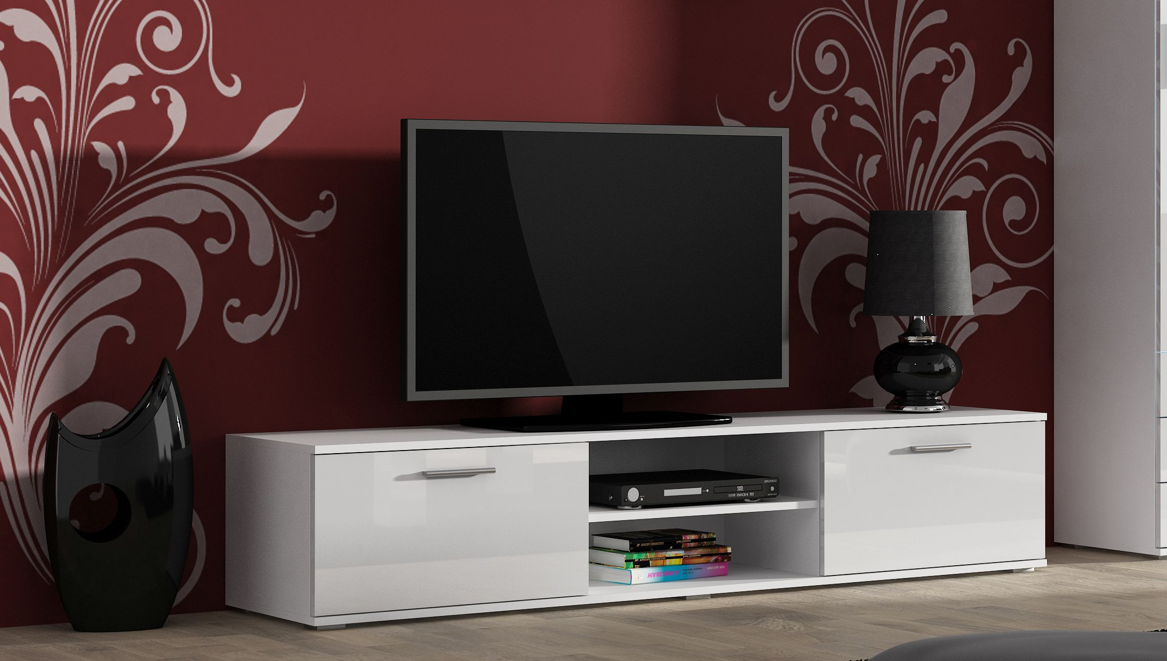 Preferred Soho High Gloss Tv Cabinet With 2 Doors And Shelf – White – Modern Pertaining To Soho Tv Cabinets (Gallery 2 of 20)