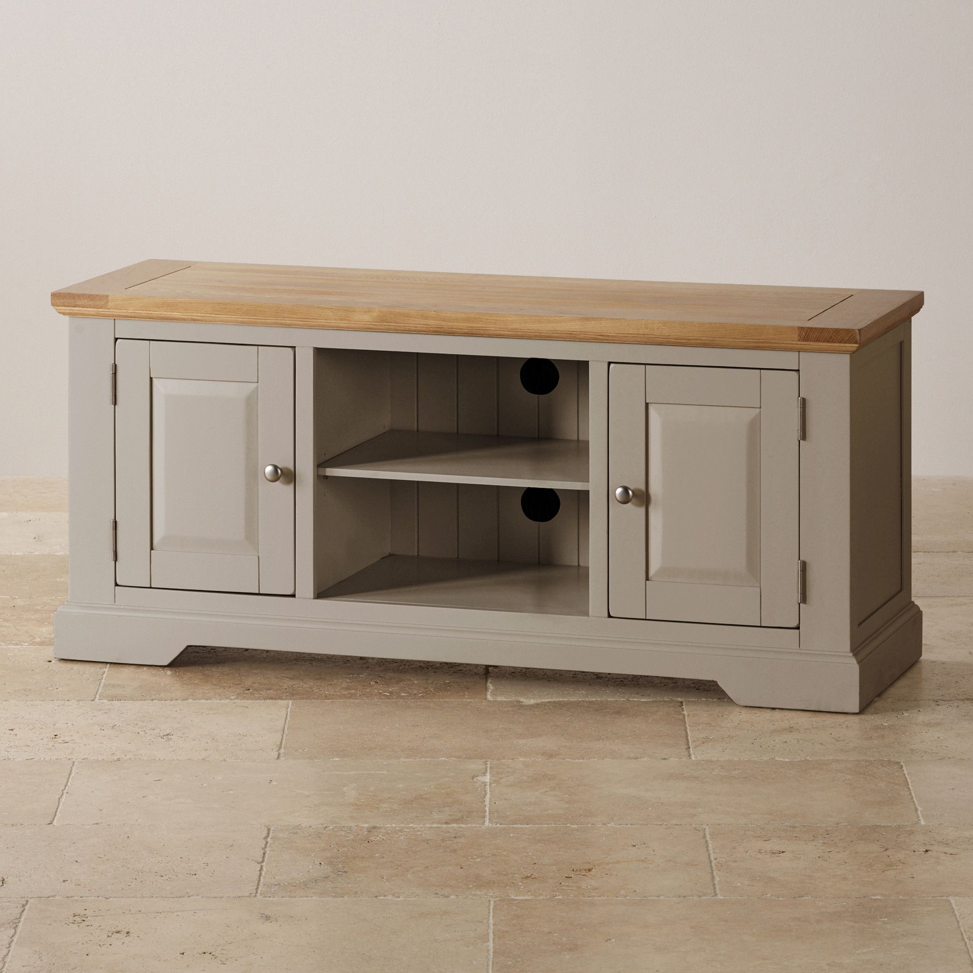 Preferred St Ives Natural Oak And Light Grey Painted Large Tv Cabinet Throughout Light Oak Tv Cabinets (Gallery 5 of 20)