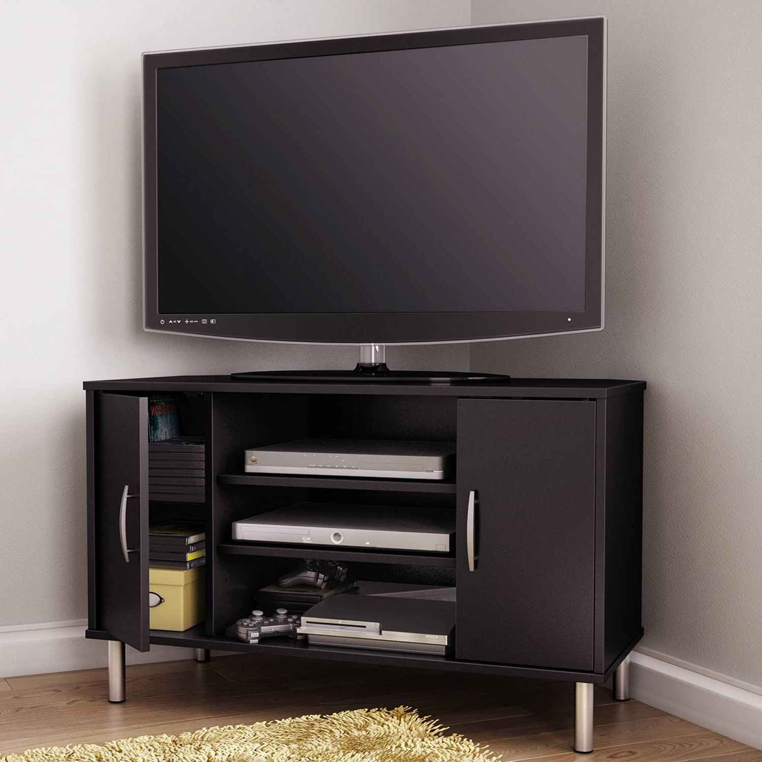 Preferred Storage Cabinets Ideas : Corner Tv Stand Designs Choosing The Throughout Triangular Tv Stands (Gallery 1 of 20)