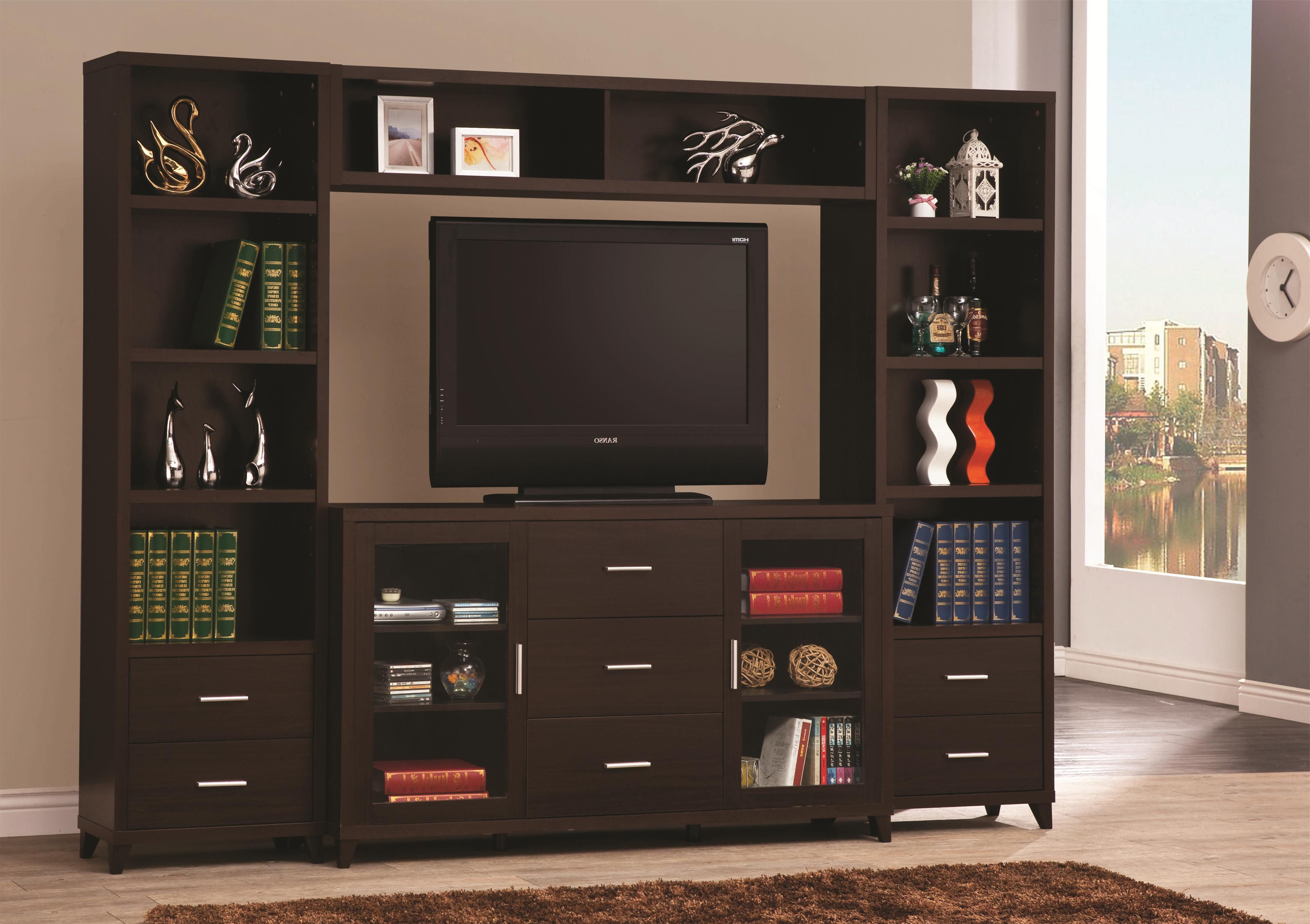 Preferred Tv Stand Wall Units Inside Coaster Entertainment Units Cappuccino Entertainment Wall Unit (Gallery 6 of 20)