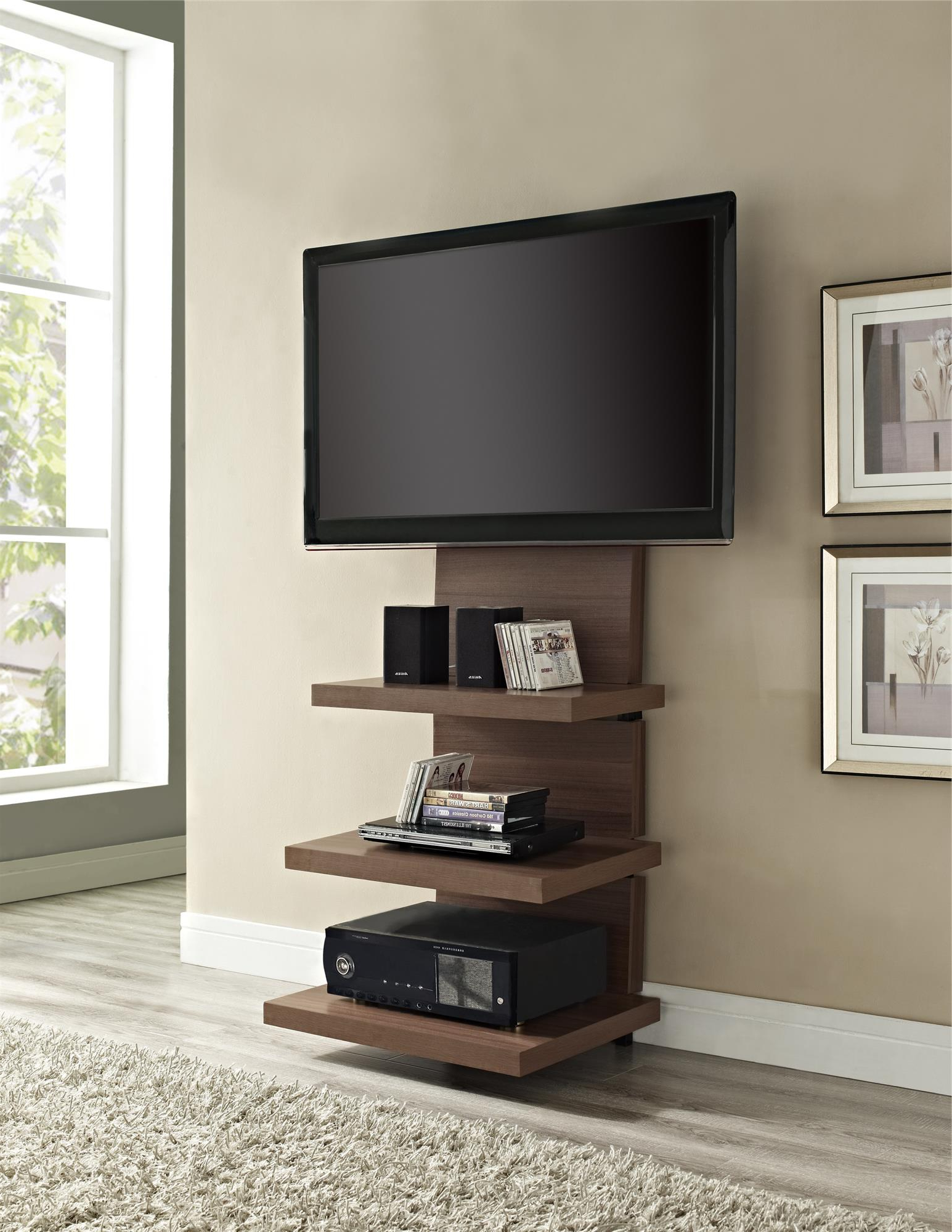 Preferred Unique Tv Stands For Flat Screens Throughout Tall Wood Wall Mounted Tv Stand With Shelves And Mount For Flat (Gallery 7 of 20)