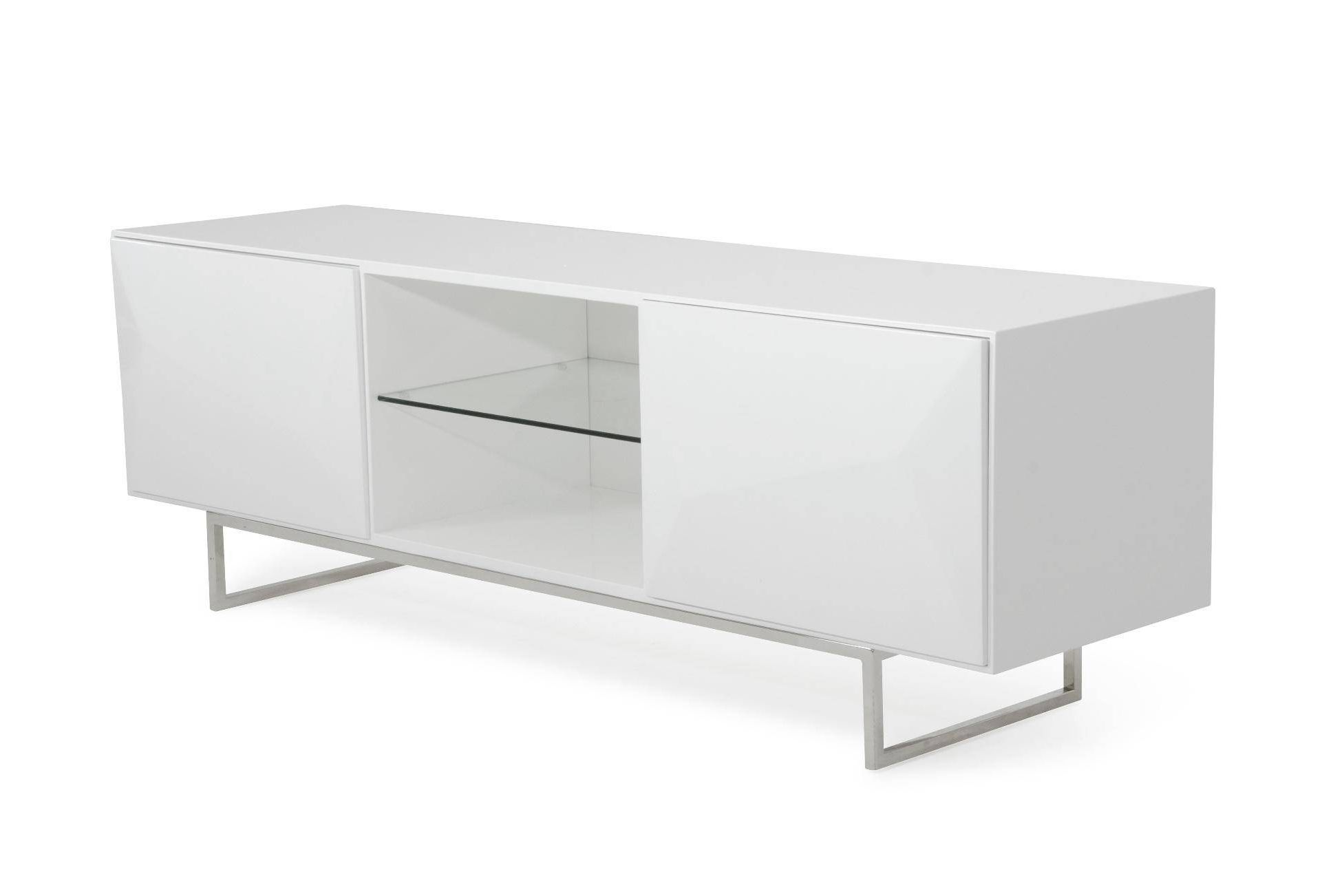 Preferred Vig Modrest Vanguard Modern Glossy White Tv Stand Contemporary Pertaining To Contemporary White Tv Stands (Gallery 15 of 20)