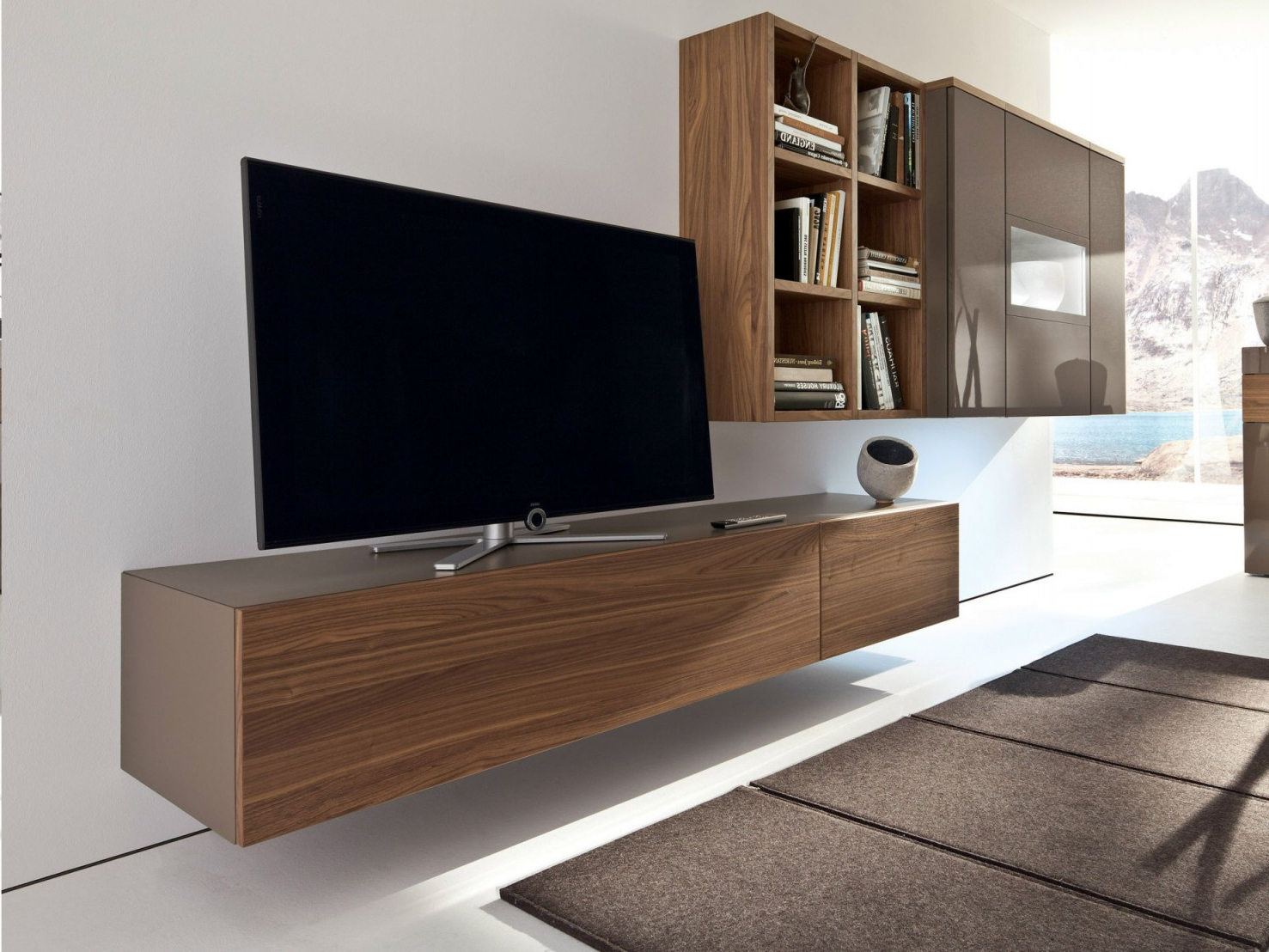 Preferred Wall Mounted Tv Racks Pertaining To Tv Cabinet Design Chic Brown Laminated Wooden Simple Wall Mounted Tv (Gallery 12 of 20)