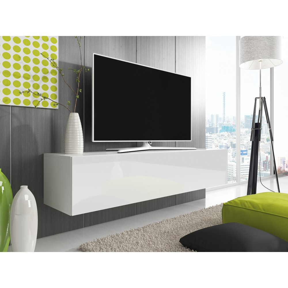 Preferred White High Gloss Tv Unit For Tv Cabinet With Led Lighting 150 Cm / White + Black High Gloss (Gallery 15 of 20)