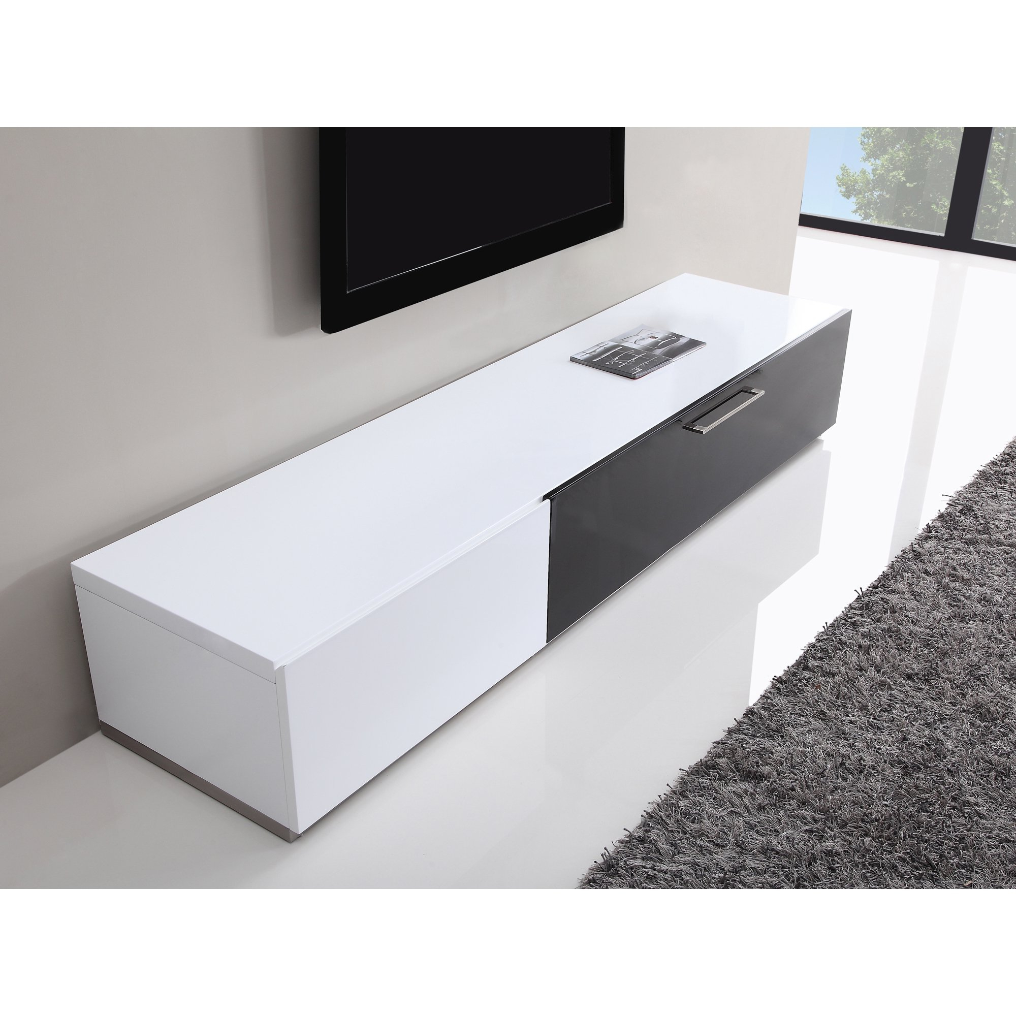 Preferred White Modern Tv Stands Regarding Shop B Modern Producer White/ Black Modern Tv Stand With Ir Glass (View 5 of 20)