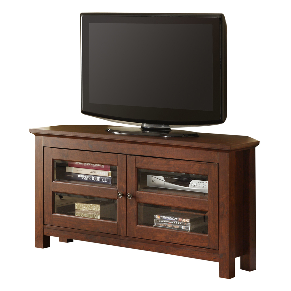 Preferred Wooden Corner Tv Stand With Small Cabinet Doors And Silver Handle Inside Corner Tv Unit With Glass Doors (View 12 of 20)