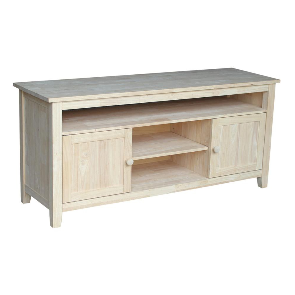 Preferred Wooden Tv Stands Intended For International Concepts 57 In. W Wood 2 Door Tv Stand Tv 51 – The (Gallery 1 of 20)