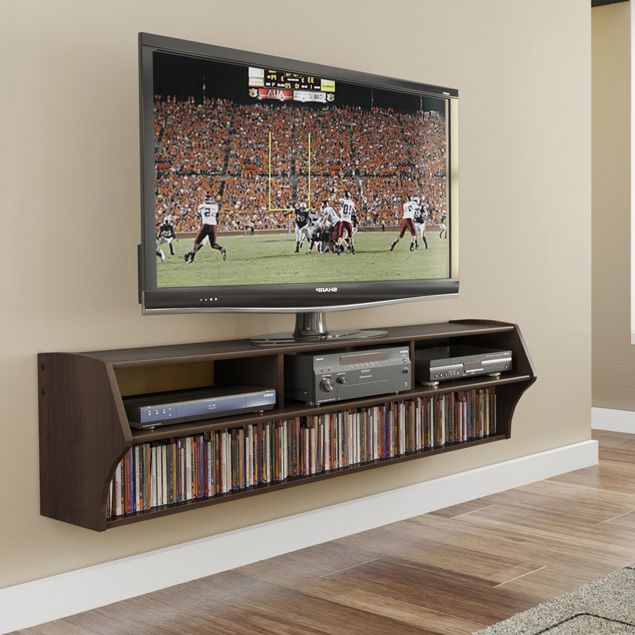 Prepac Altus Espresso Wall Mounted Tv Stand At Lowes Throughout Favorite Wall Mounted Tv Racks (View 11 of 20)