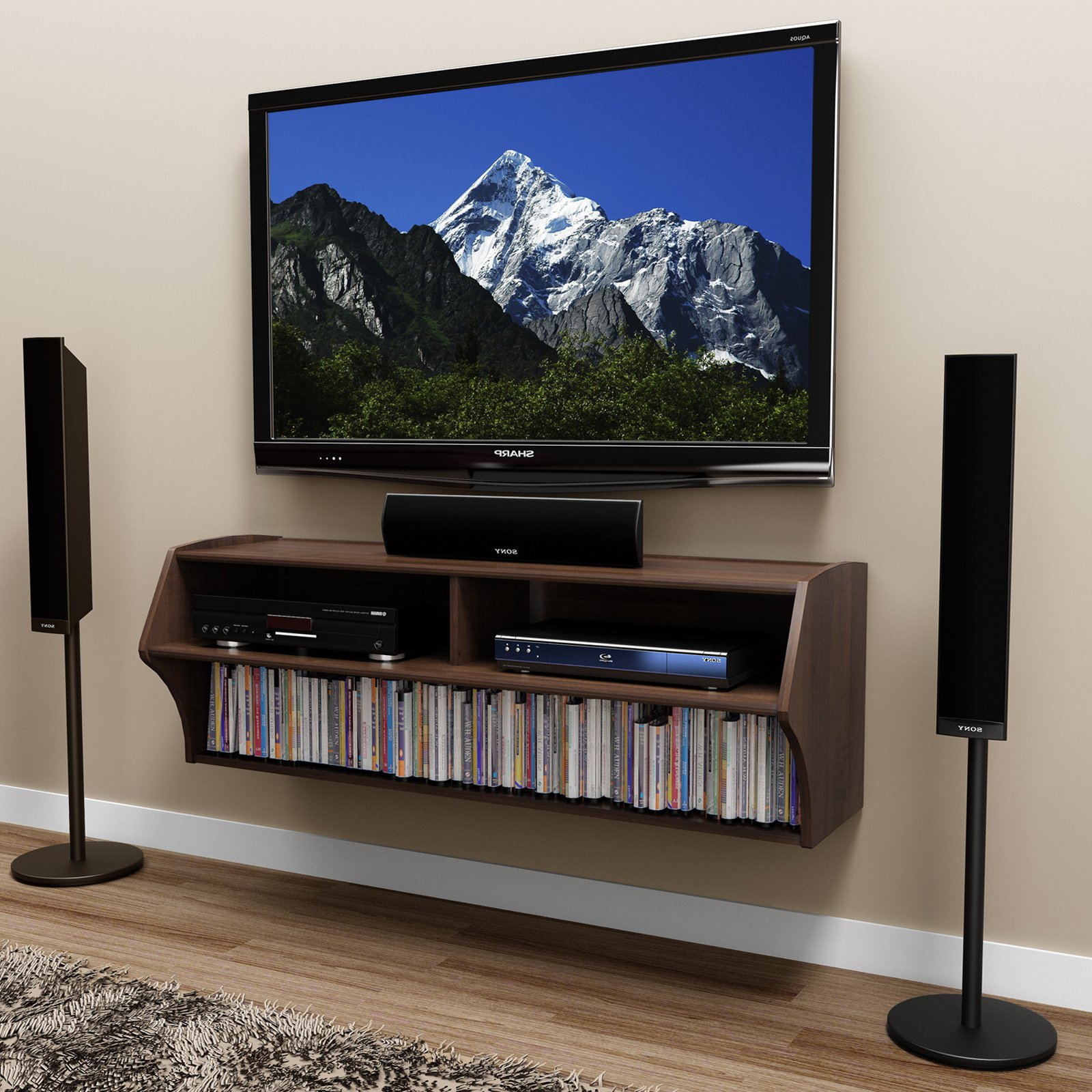 Prepac Altus Wall Mounted A/v Tv Stand, Multiple Finishes – Walmart Intended For Well Known Shelves For Tvs On The Wall (View 19 of 20)