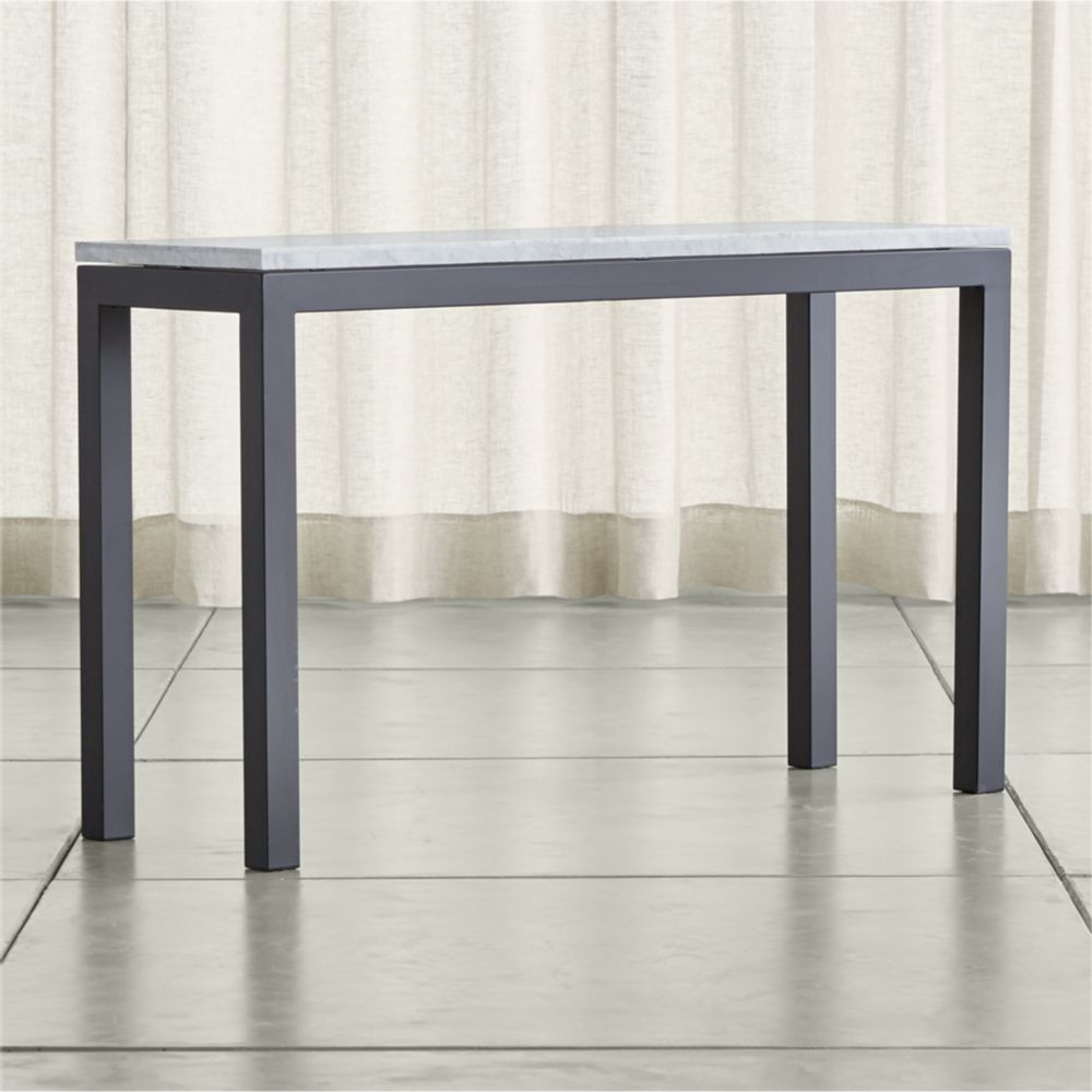 Featured Photo of Parsons Grey Marble Top & Dark Steel Base 48X16 Console Tables