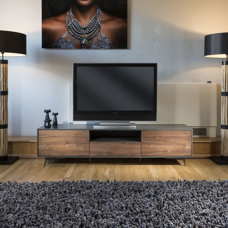 Quatropi Tembie Large Tv Stand / Cabinet / Sideboard Walnut / Grey Inside Popular Sideboard Tv Stands (Gallery 1 of 20)