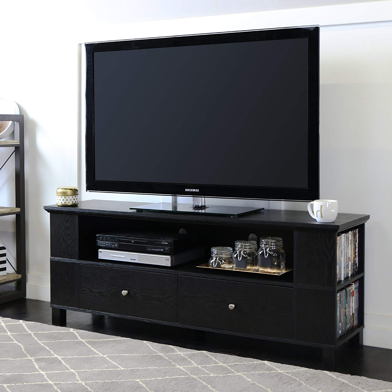 """Raven Grey Tv Stands With Regard To Most Up To Date Amazon: Walker Edison 58"""" Black Wood Storage Tv Cabinet: Kitchen (View 14 of 20)"""