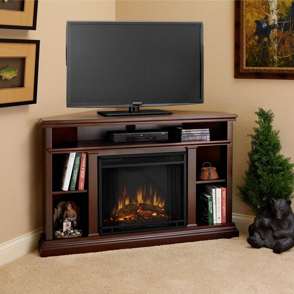 Real Flame Churchill 51 In. Corner Media Console Electric Fireplace Inside Most Popular Casey Umber 66 Inch Tv Stands (Gallery 18 of 20)