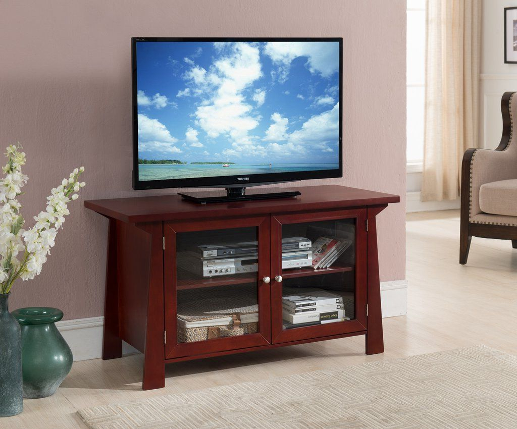 "Recent 42"" Cherry, Wood Tv Stand Entertainment Center Storage Console With Within Cherry Wood Tv Stands (View 14 of 20)"