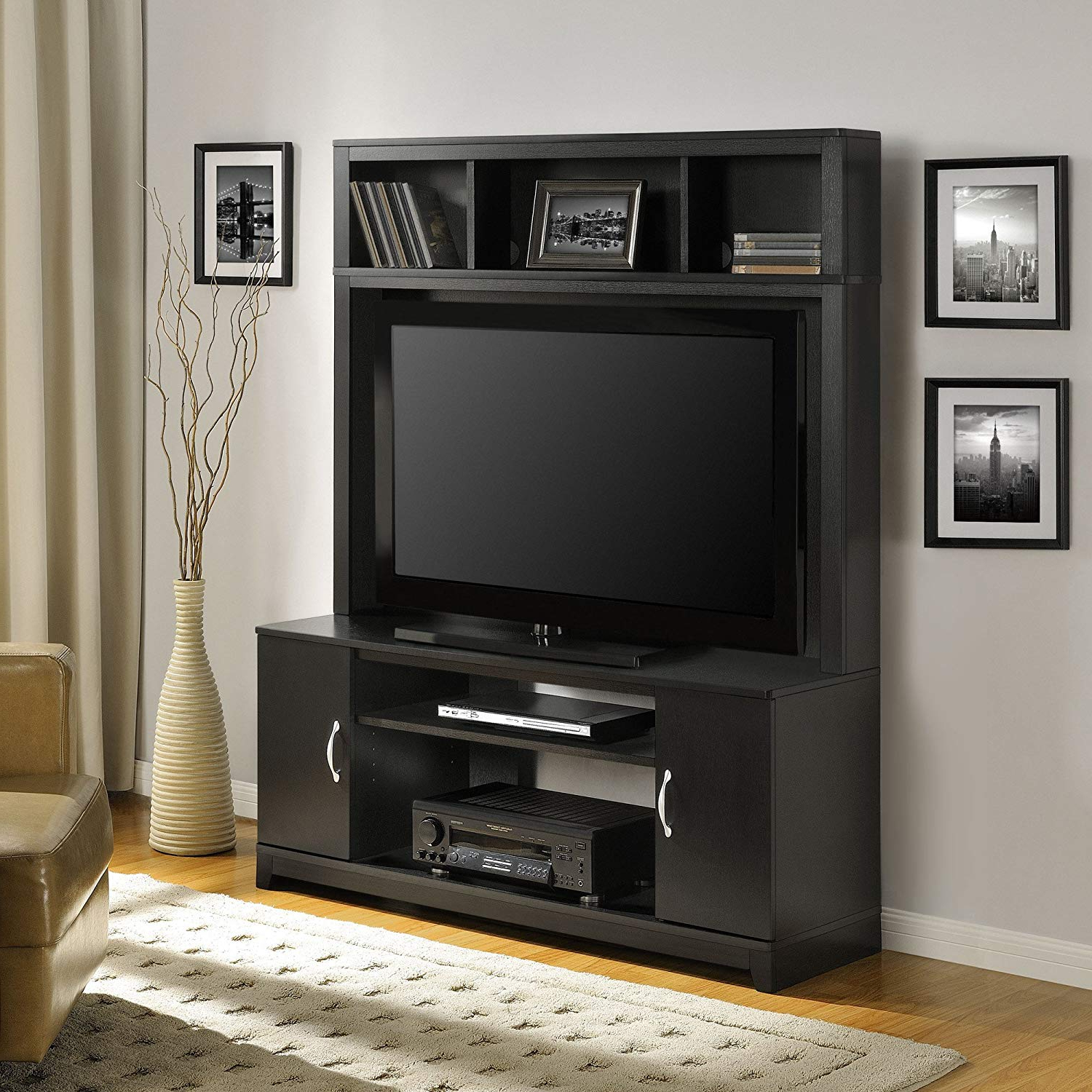 Recent Amazon: Home Tv Stands Wood Entertainment Media Center For Flat Throughout Noah 75 Inch Tv Stands (View 14 of 20)