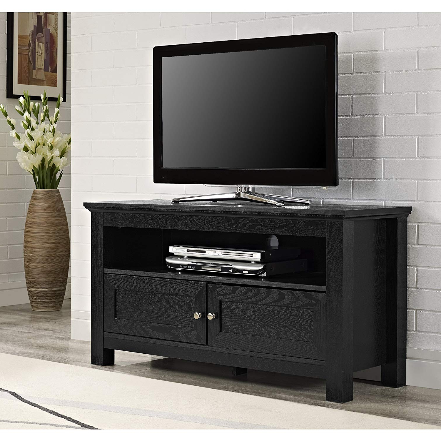 Recent Amazon: Walker Edison 44 Inches Cortez Tv Stand Console, Black Regarding Solid Wood Black Tv Stands (View 4 of 20)