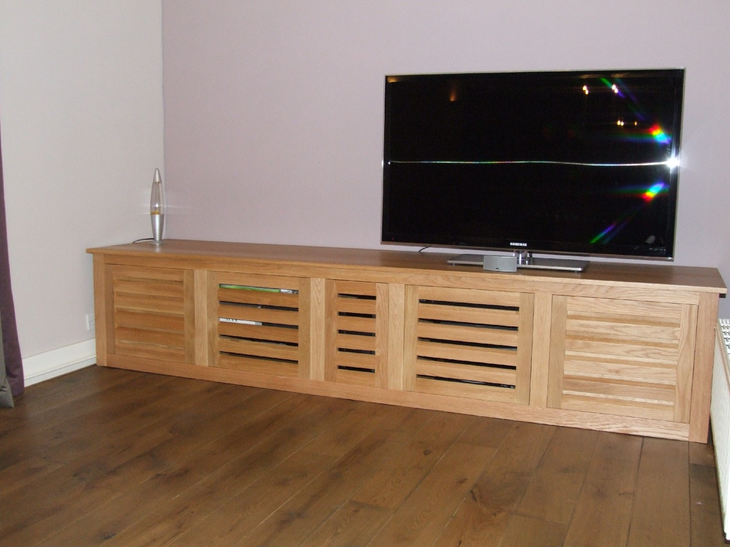 Recent Bespoke Oak Tv Cabinet With Louvered Doors 55 Inch Tv Cabinet Intended For Enclosed Tv Cabinets With Doors (View 13 of 20)