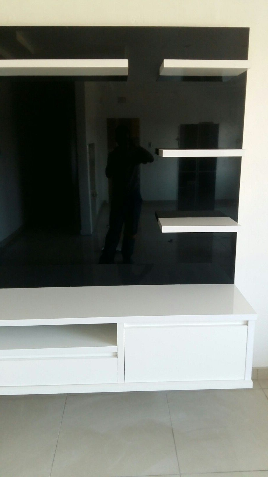 Recent Black And White Gloss Finish Floating Entertainment Unit Custom Made For 100Cm Width Tv Units (Gallery 17 of 20)