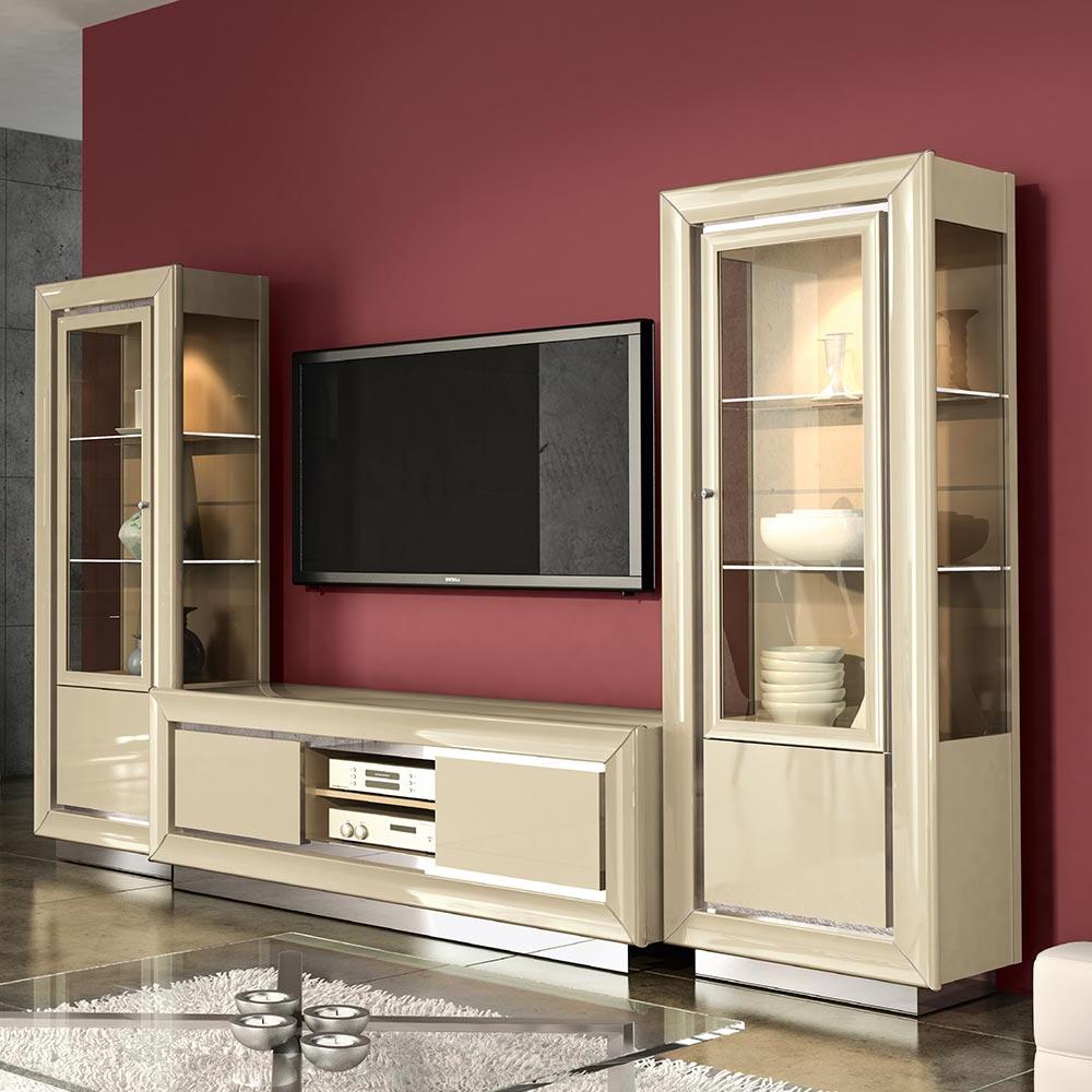 Recent Black Gloss Tv Wall Unit Regarding Minton Ivory High Gloss Tv Wall Unit With Bridge : F D Interiors Ltd (Gallery 9 of 20)