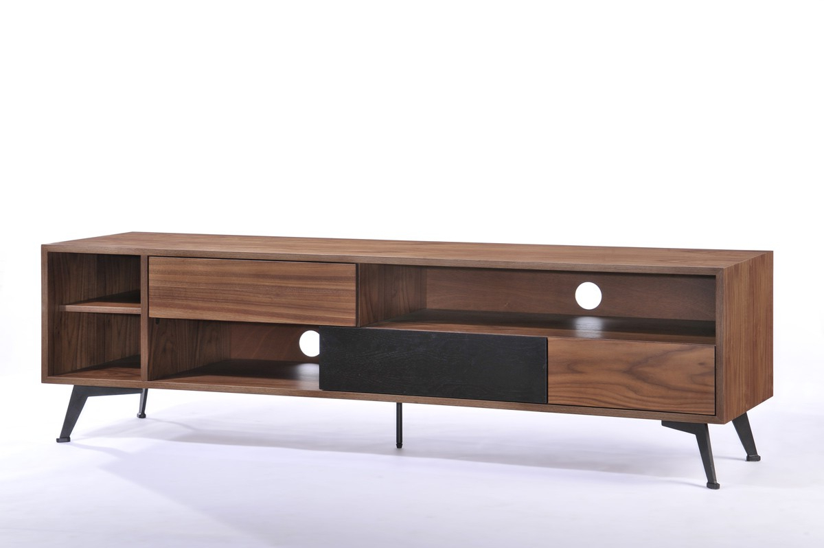 Recent Black Tv Stands With Drawers Regarding Garrison Modern Walnut & Black Tv Stand (View 20 of 20)