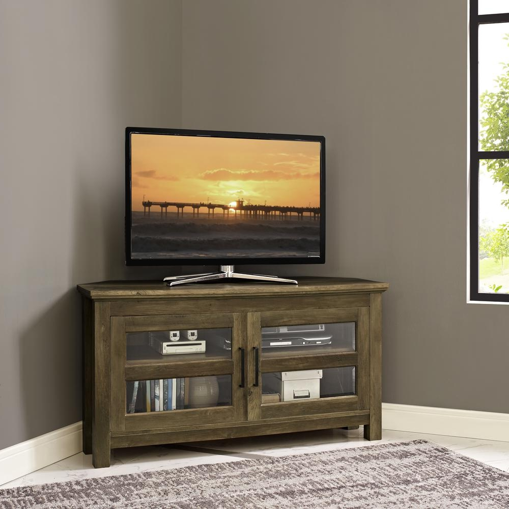Recent Corner Oak Tv Stands For Flat Screen With Regard To Walker Edison Furniture Company 44 In Rustic Oak Corner Wood Tv With (View 19 of 20)
