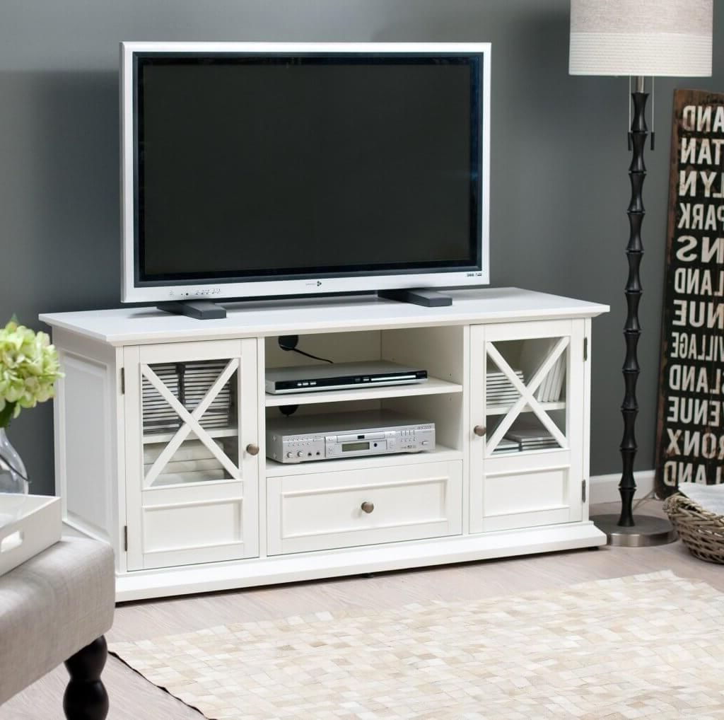Recent Furniture: Fascinating White Wooden Tv Stand Featuring Double With Wooden Tv Cabinets With Glass Doors (View 20 of 20)