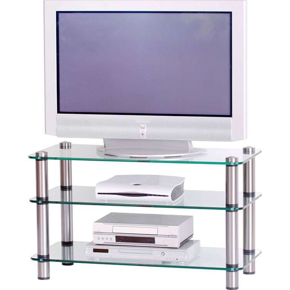 Recent Glass Tv Stands In Flatscreen Platform Tv Stand Glass Shelves Storage Unit (View 10 of 20)