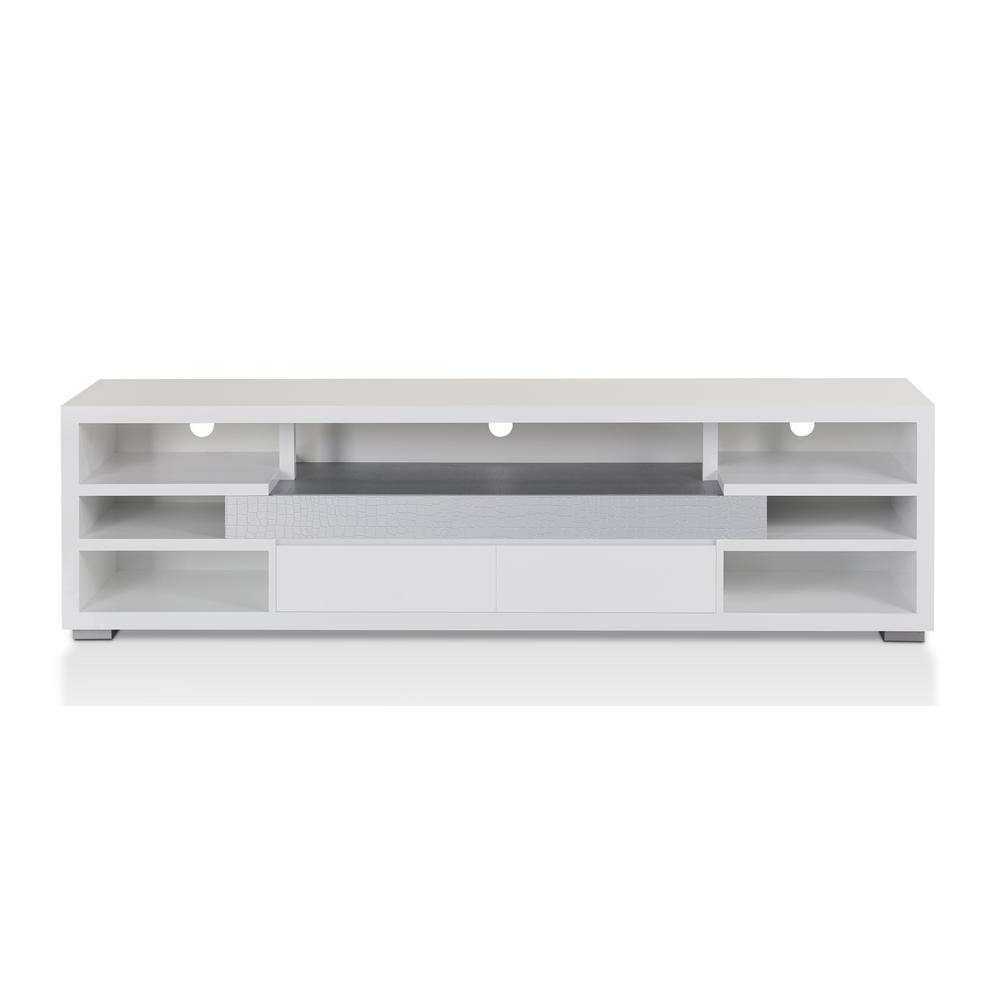 Recent Glossy White Tv Stands For Furniture Of America Vinician White Tv Stand Idi 161521 – The Home Depot (View 12 of 20)