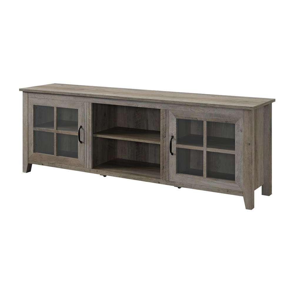 "Recent Grey Wood Tv Stands Inside 70"" Farmhouse Wood Tv Stand With Glass Doors  Grey Wash (View 16 of 20)"