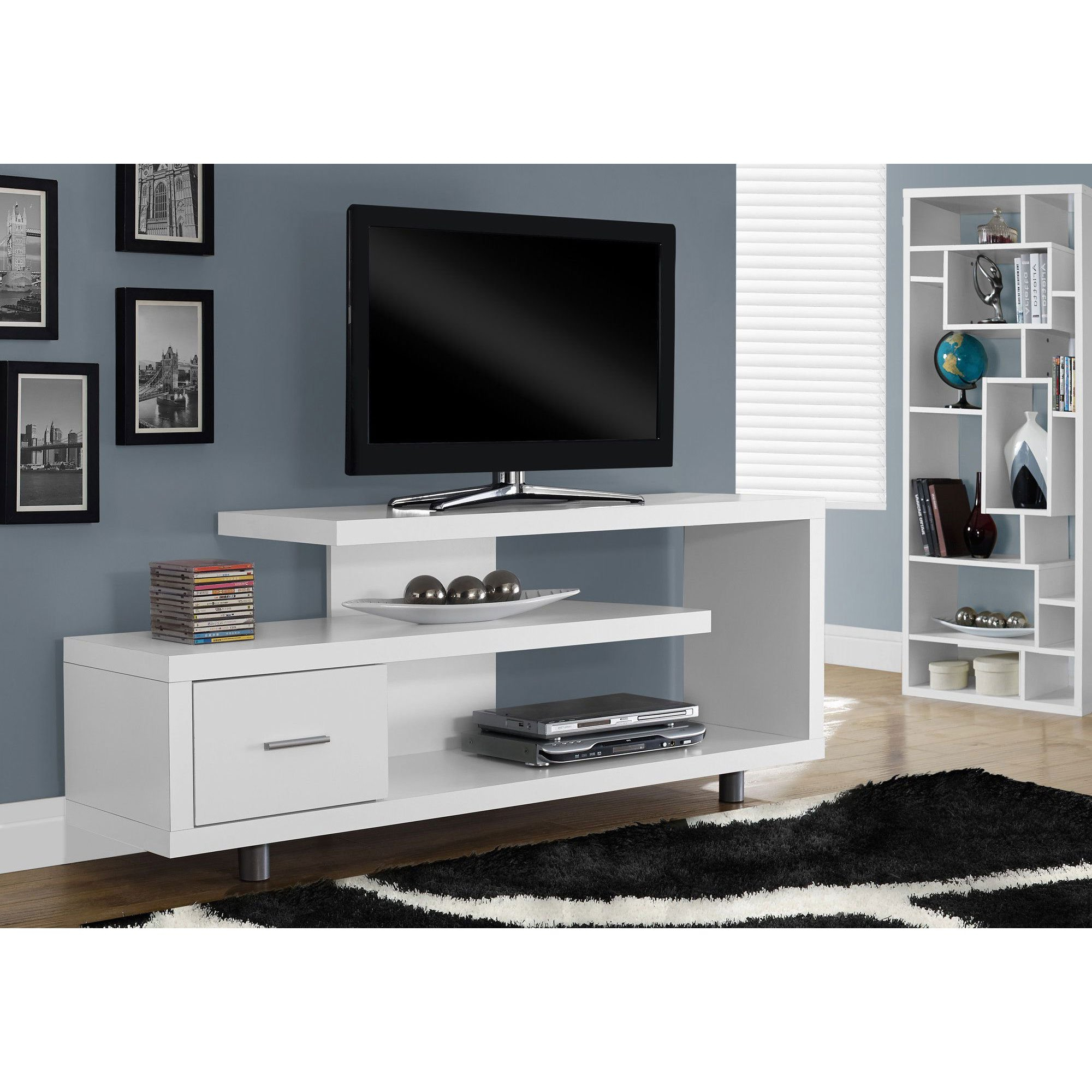 "Recent Maddy 60 Inch Tv Stands With Monarch Tv Stand White With 1 Drawer For Tvs Up To 47""l – Walmart (Gallery 9 of 20)"