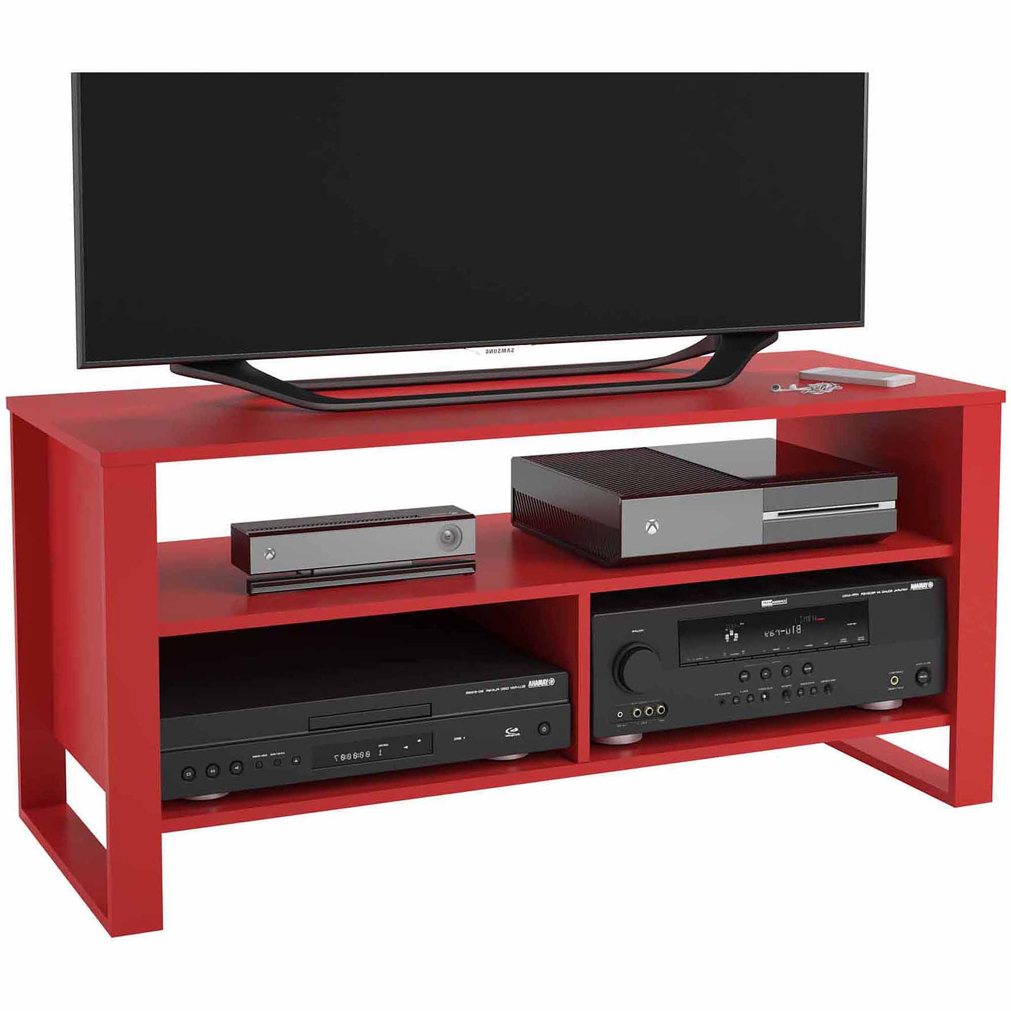 "Recent Mainstays Tv Stand For Tvs Up To 44"" – Walmart For Red Modern Tv Stands (Gallery 19 of 20)"