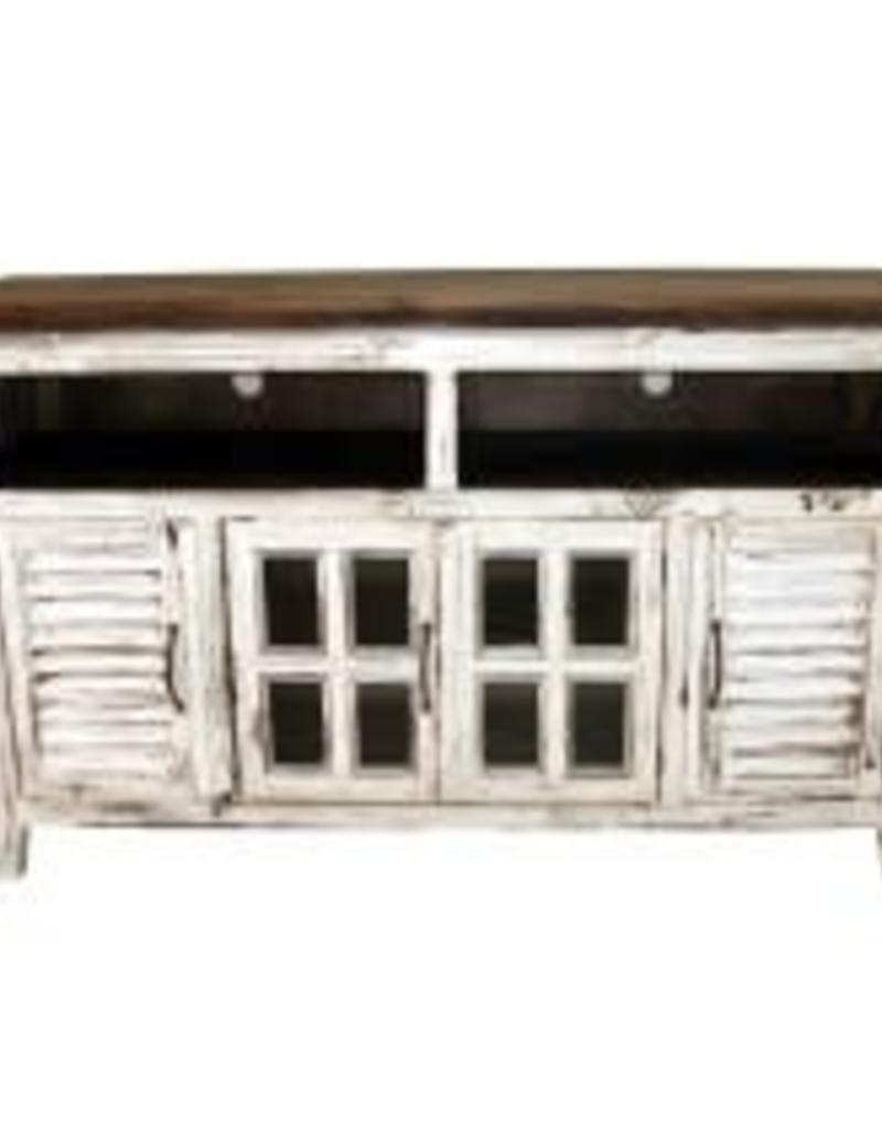 Recent Mo Com 65 Tv Stand Shutter Antique White – R&b Furniture Within Rustic White Tv Stands (View 12 of 20)