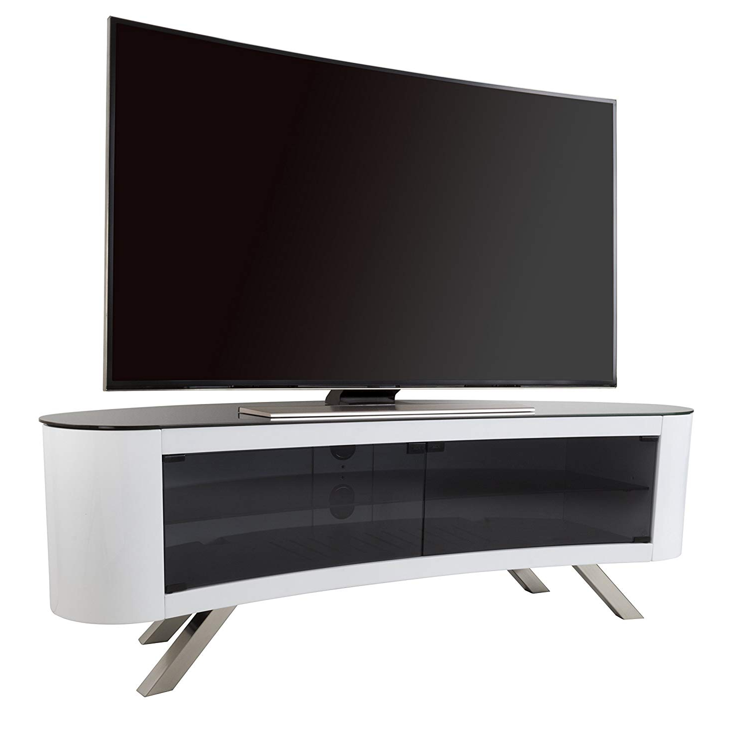 Recent Ovid White Tv Stand Intended For Avf Bay Curved Tv Stand In White: Amazon.co (View 14 of 20)