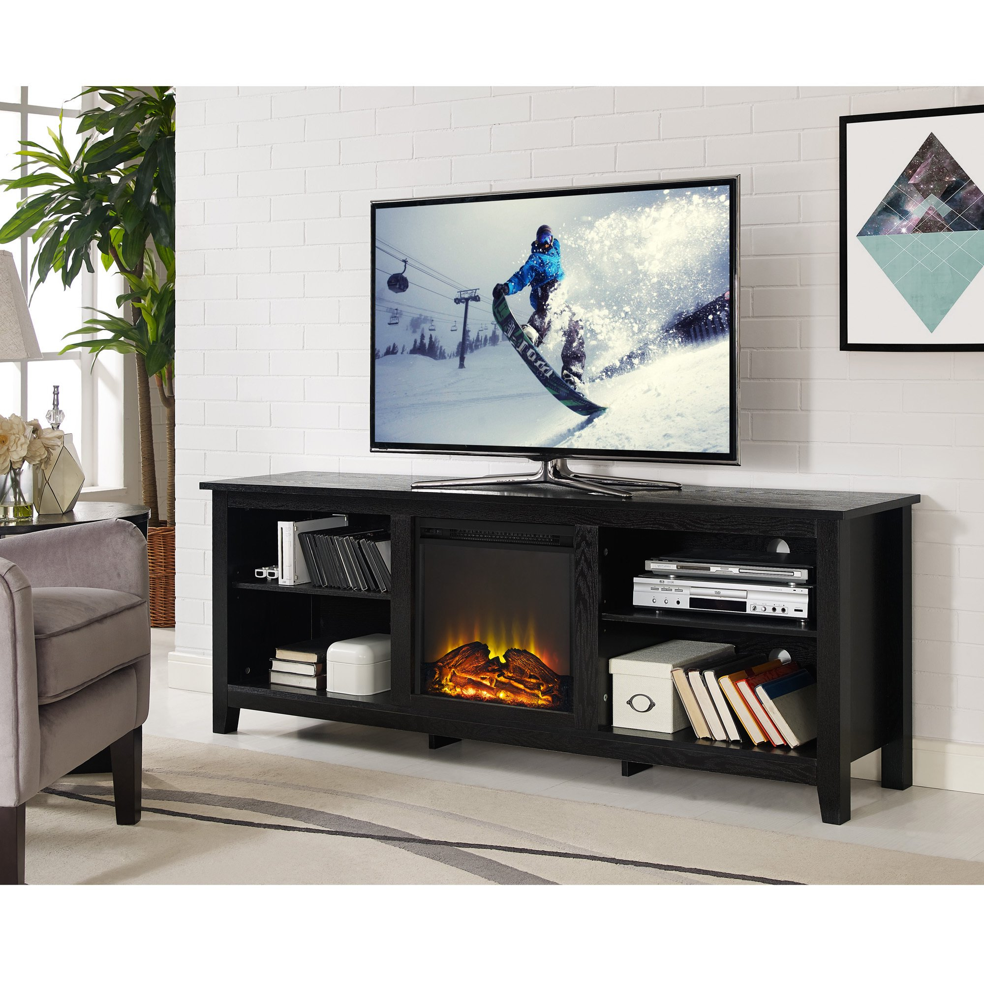 "Recent Shop 70"" Fireplace Tv Stand Console – Black – 70 X 16 X 24H – Free With Laurent 70 Inch Tv Stands (View 9 of 20)"