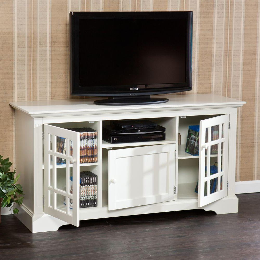 Recent Southern Enterprises Madison Off White Entertainment Center Hd889092 With Long White Tv Cabinets (Gallery 6 of 20)