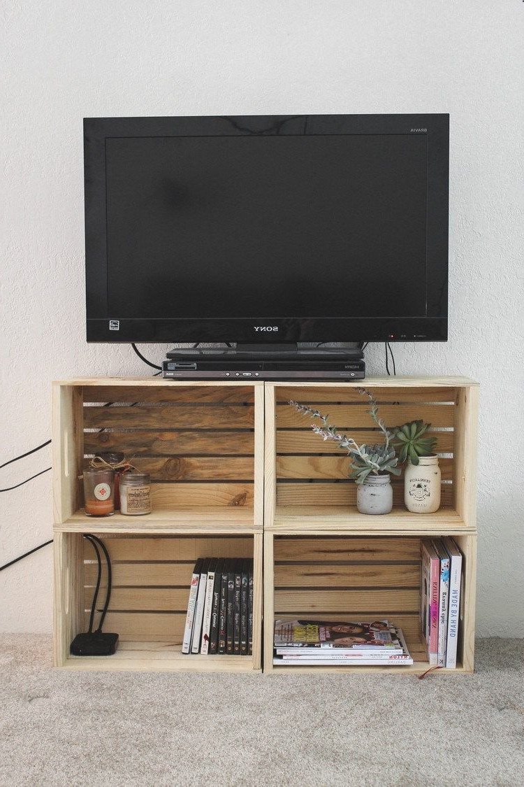 Recent Tv Stands For Small Spaces In Diy Crate Tv Stand — Cashmere And Plaid #small Spaces #home Decor (Gallery 13 of 20)