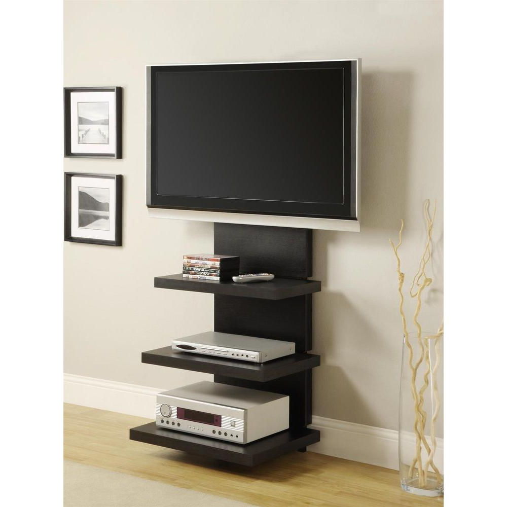Recent Wall Mounted Tv Racks Inside Altra Furniture Elevation Black Entertainment Center 1186096 – The (View 12 of 20)