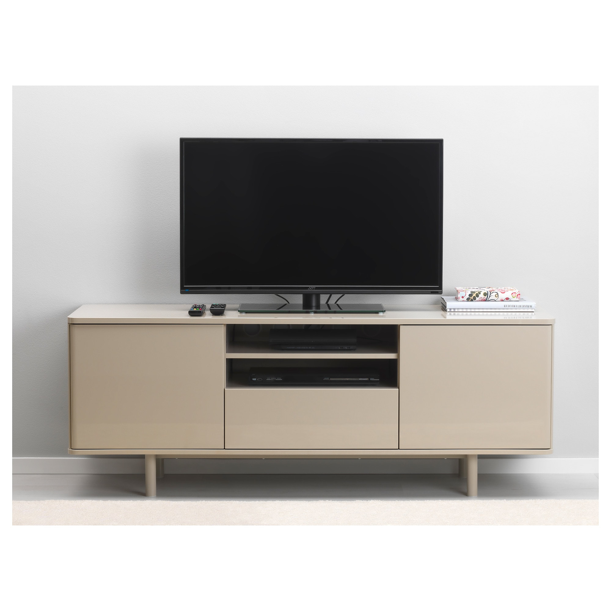 Recent White Gloss Tv Benches Throughout Mostorp Tv Bench High Gloss Beige 160 X 47 X 60 Cm – Ikea (View 13 of 20)