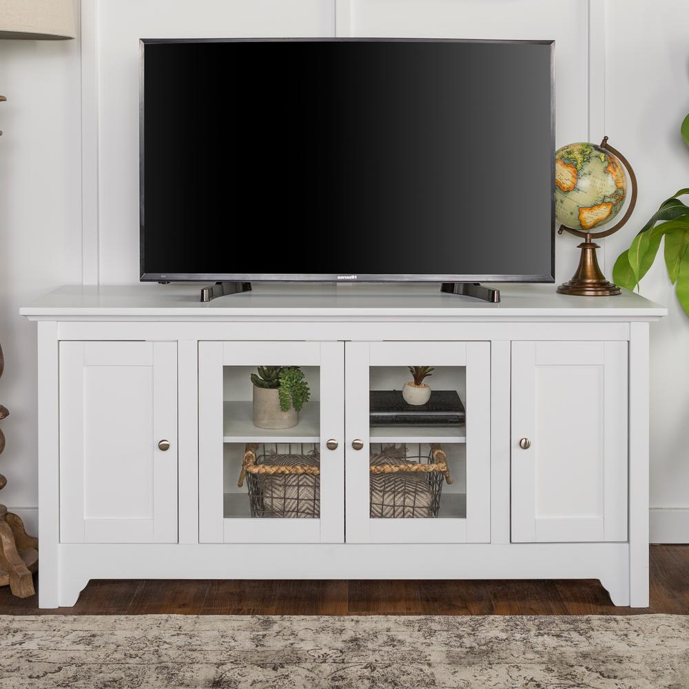 Recent White Wood Tv Stands With Walker Edison Furniture Company 52 In. White Wood Tv Media Stand (Gallery 1 of 20)
