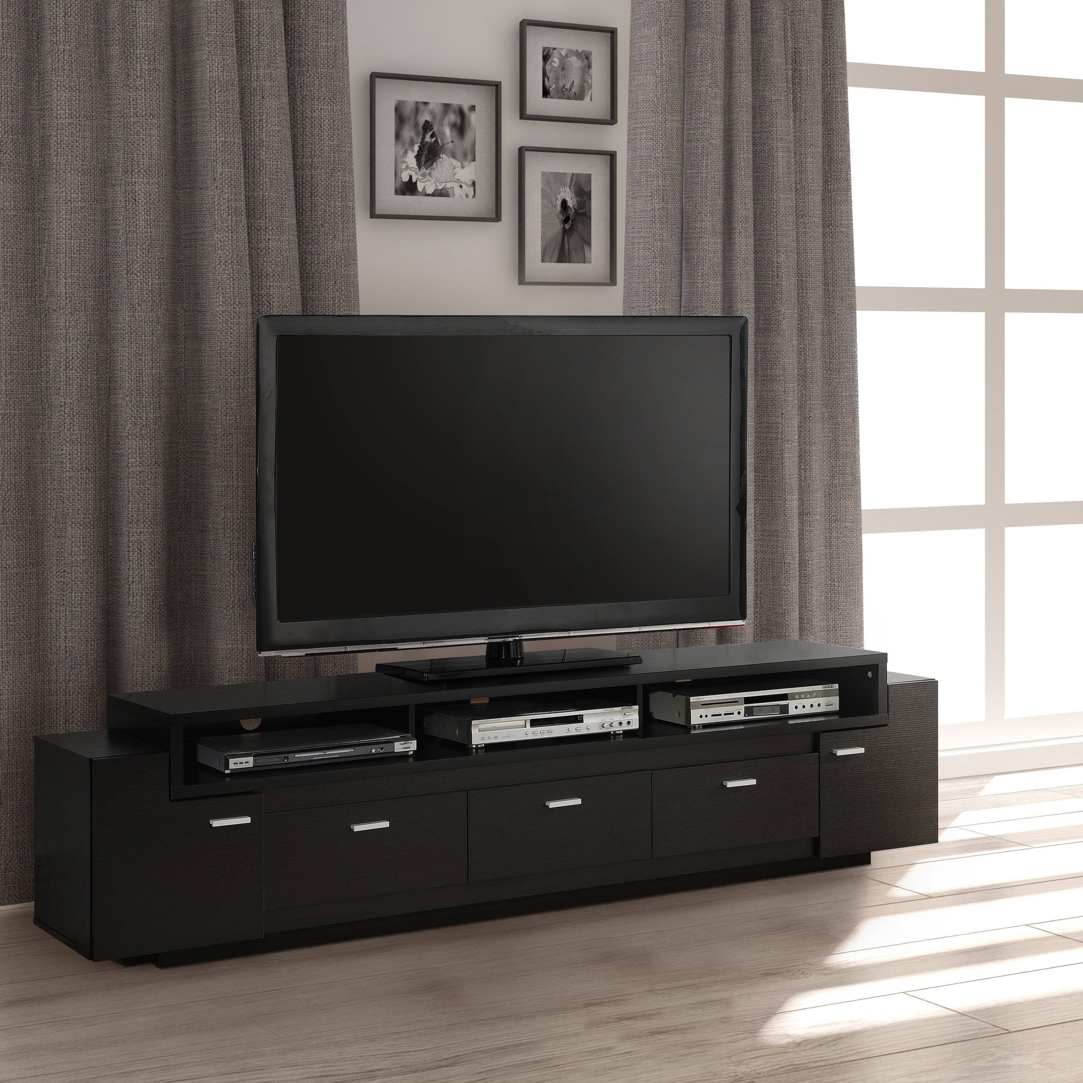 Recent Wide Tv Cabinets Within Shop Porch & Den Hubbard 84 Inch Tiered Tv Stand – On Sale – Free (Gallery 10 of 20)