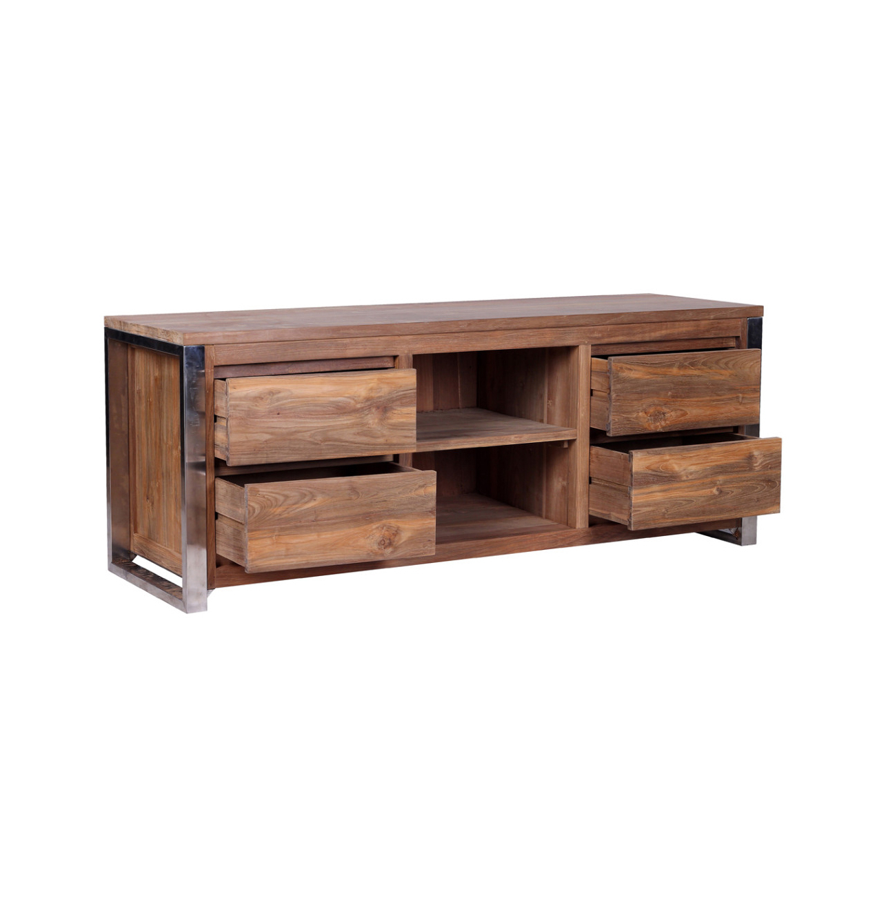 Reclaimed Wood And Metal Tv Stands For Popular Rarem Reclaimed Wood Tv Stand – Reclaimed Teak And Stainless Steel (View 10 of 20)