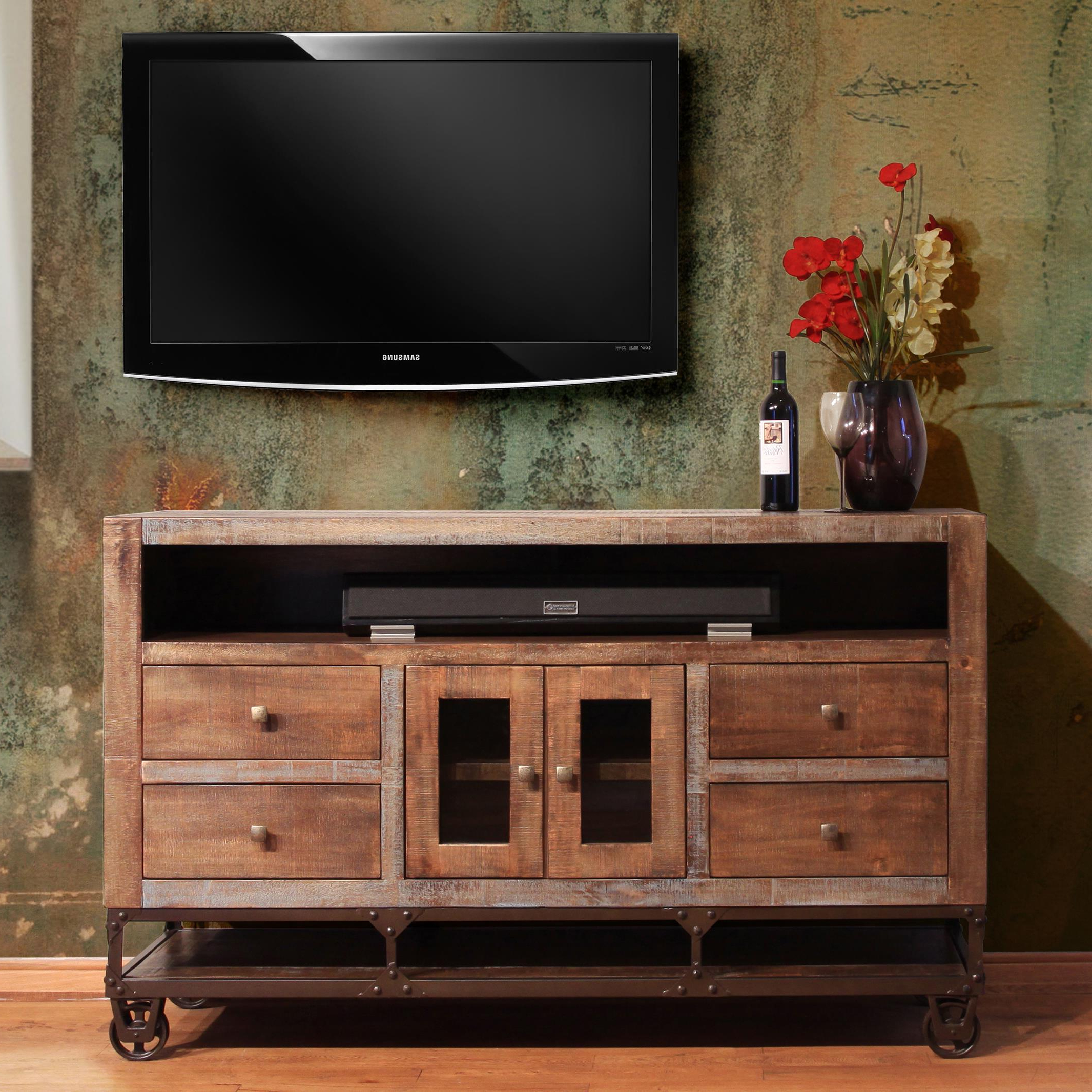 Reclaimed Wood Tv Stands Solid Stand For 65 Inch Honey Oak Throughout Preferred Honey Oak Tv Stands (View 17 of 20)